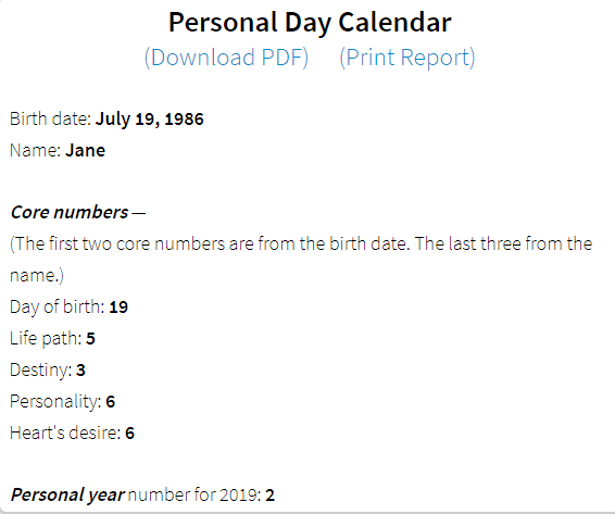 numerology personal day calendar core numbers